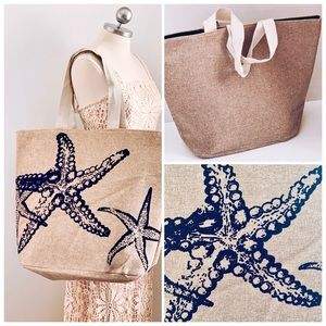 X-Large Navy Blue Tote Beach Vacation New